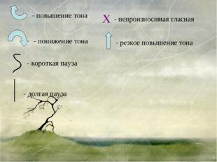 X - повышение тона - понижение тона - долгая пауза - короткая пауза - непроиз