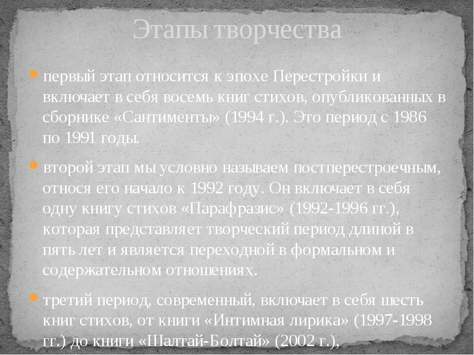 первый этап относится к эпохе Перестройки и включает в себя восемь книг стихо...