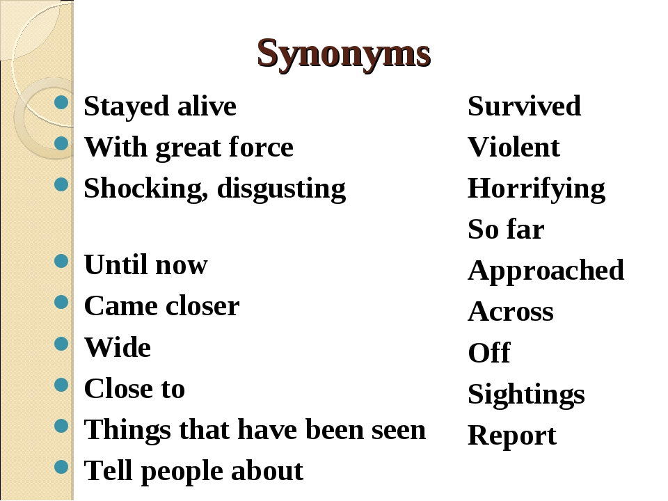 Synonyms Stayed alive With great force Shocking, disgusting Until now Came cl...