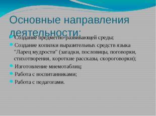 Основные направления деятельности: Создание предметно-развивающей среды; Созд