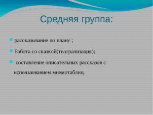 Средняя группа: рассказывание по плану ; Работа со сказкой(театрализация); со