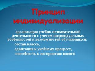 организация учебно-познавательной деятельности с учетом индивидуальных особен