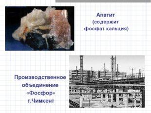 Апатит (содержит фосфат кальция) Производственное объединение «Фосфор» г.Чимк