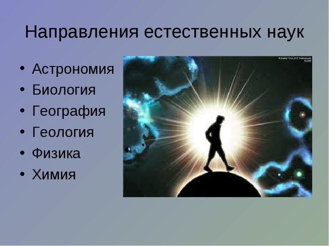 Направления естественных наук Астрономия Биология География Геология Физика Х...