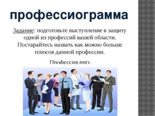 профессиограмма Задание: подготовьте выступление в защиту одной из профессий