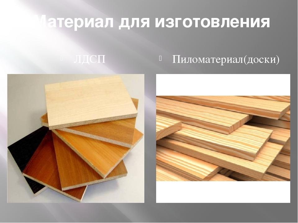 Материал для изготовления ЛДСП Пиломатериал(доски)