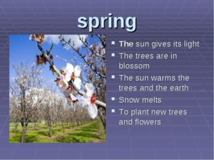 spring The sun gives its light The trees are in blossom The sun warms the tre