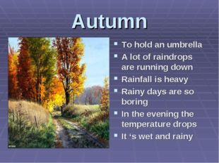 Autumn To hold an umbrella A lot of raindrops are running down Rainfall is he