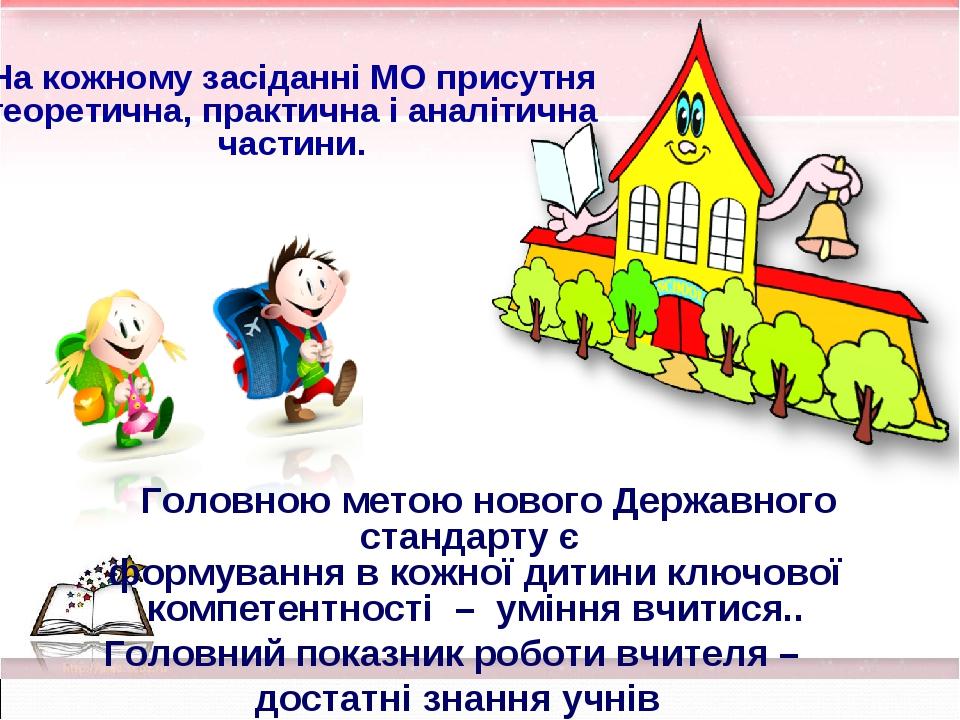 На кожному засіданні МО присутня теоретична, практична і аналітична частини....
