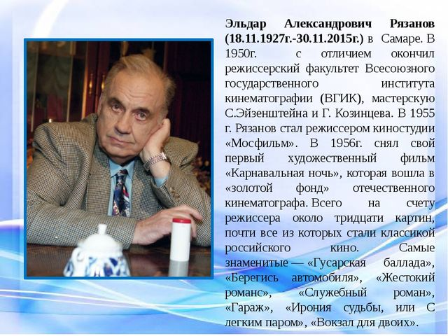Эльдар Александрович Рязанов (18.11.1927г.-30.11.2015г.) в Самаре.В 1950г....