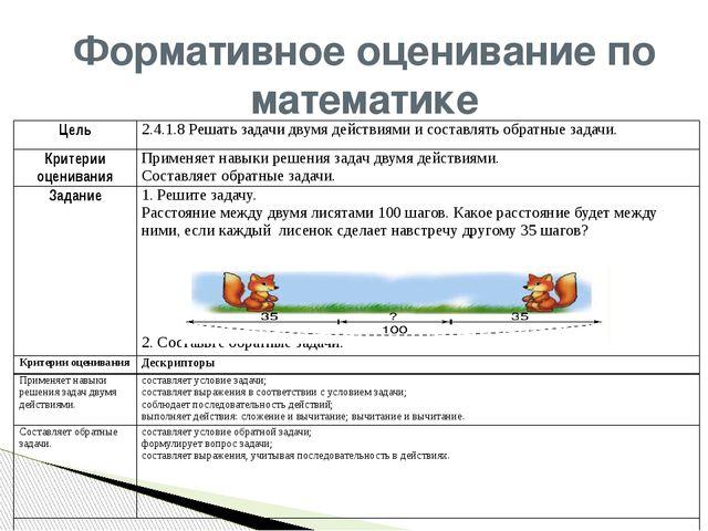 Формативное оценивание по математике Цель 2.4.1.8Решать задачидвумя действиям...