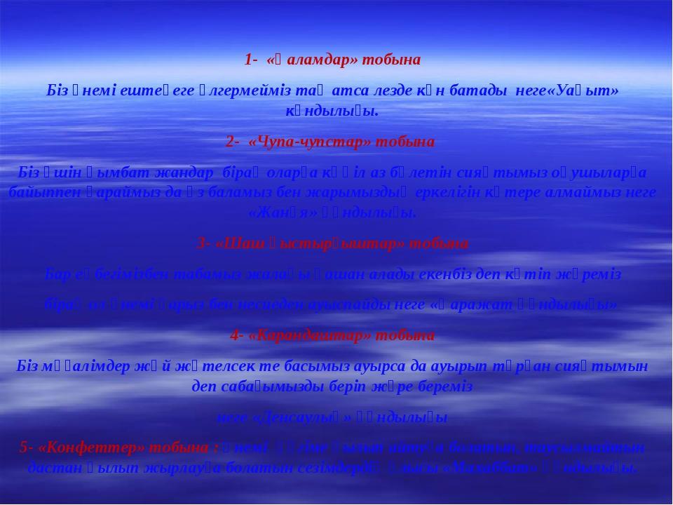 1- «Қаламдар» тобына Біз үнемі ештеңеге үлгермейміз таң атса лезде күн батад...