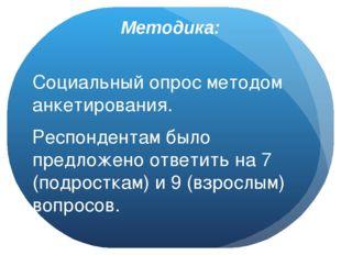 Методика: Социальный опрос методом анкетирования. Респондентам было предложен