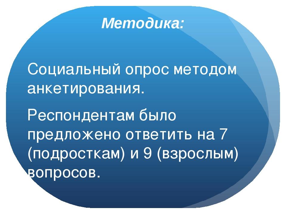 Методика: Социальный опрос методом анкетирования. Респондентам было предложен...