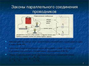 * Законы параллельного соединения проводников Напряжение на концах всех парал