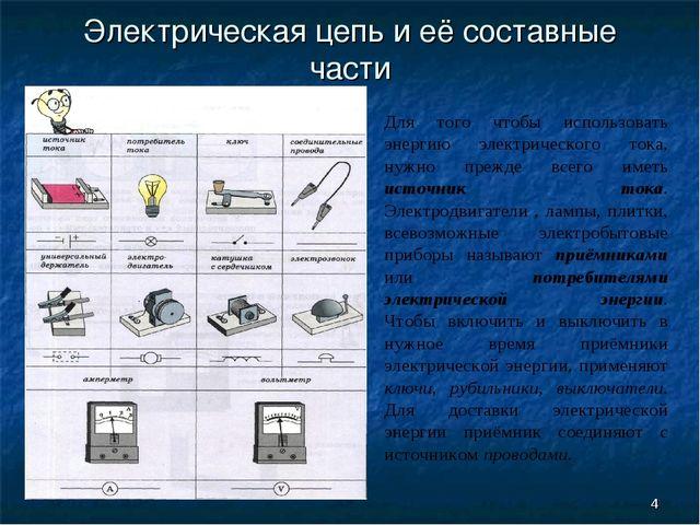 * Электрическая цепь и её составные части Для того чтобы использовать энергию...