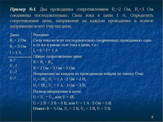 * Пример №1. Два проводника сопротивлением R1=2 Ом, R2=3 Ом соединены последо...