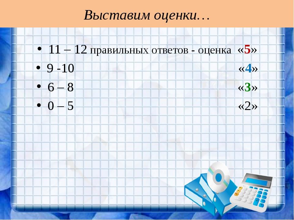 Выставим оценки… 11 – 12 правильных ответов - оценка «5» 9 -10 «4» 6 – 8 «3»...