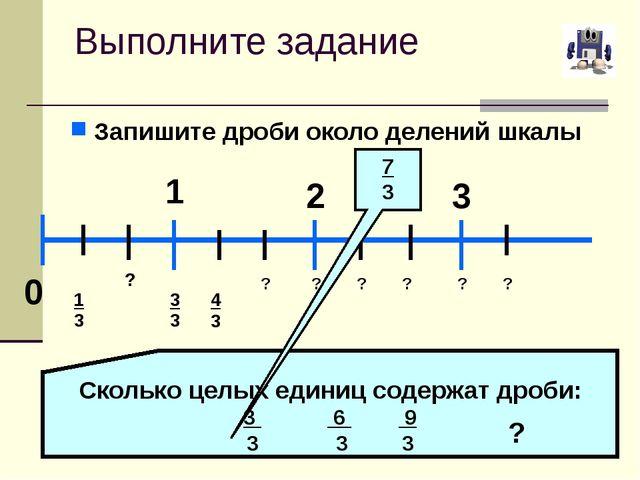 Выполните задание Запишите дроби около делений шкалы 0 1 2 3 1 ? 3 4 3 ? ? ?...