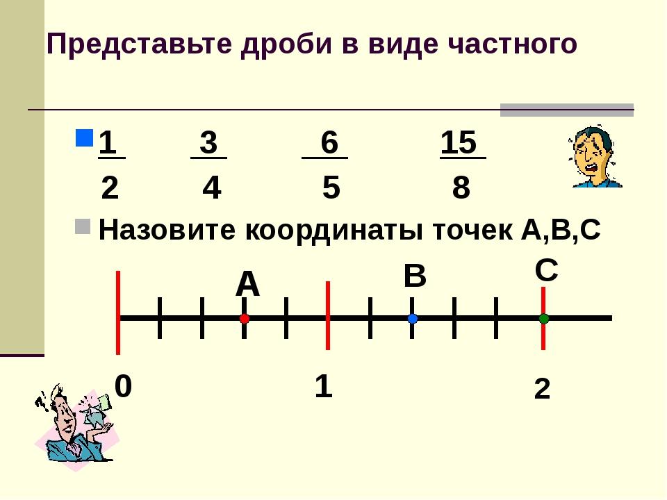 Представьте дроби в виде частного 1 3 6 15 2 4 5 8 Назовите координаты точек...