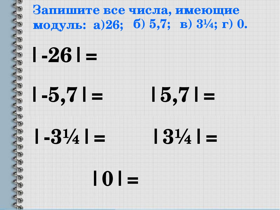 Запишите все числа, имеющие модуль: а)26; |-26|= б) 5,7; |-5,7|= |5,7|= в) 3¼...