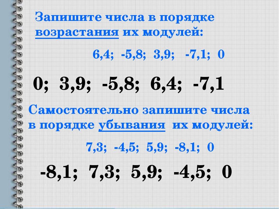 Запишите числа в порядке возрастания их модулей: 6,4; -5,8; 3,9; -7,1; 0 0; 3...