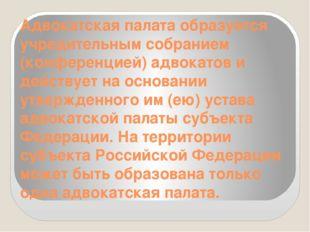 Адвокатская палата образуется учредительным собранием (конференцией) адвокато