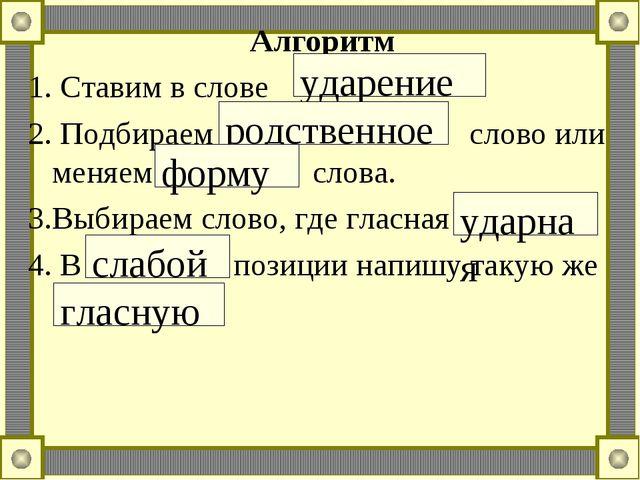 Алгоритм 1. Ставим в слове 2. Подбираем слово или меняем слова. 3.Выбираем сл...