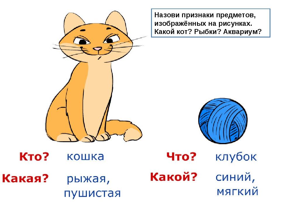 Назови признаки предметов, изображённых на рисунках. Какой кот? Рыбки? Аквари...
