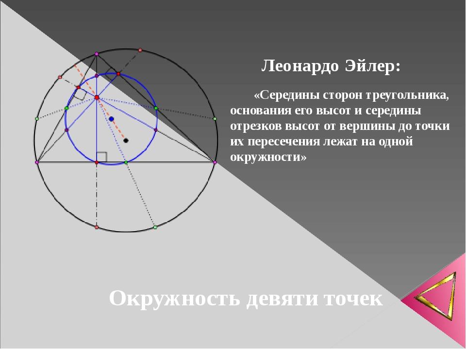 Окружность девяти точек «Середины сторон треугольника, основания его высот и...