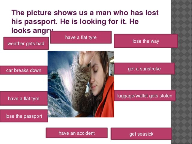The picture shows us a man who has lost his passport. He is looking for it. H...