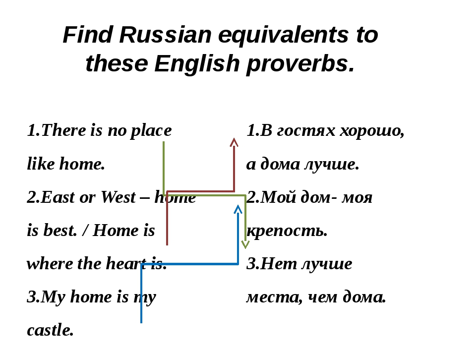 Find Russian equivalents to these English proverbs. 1.There is no place like...