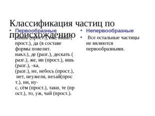 Классификация частиц по происхождению Первообразные бишь(прост.),бы,вишь