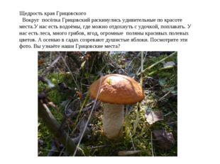 Щедрость края Грицовского Вокруг посёлка Грицовский раскинулись удивительные