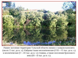 Раннее заселение территории Тульской области связано с концом палеолита (окол