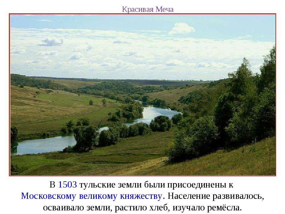 Красивая Меча В 1503 тульские земли были присоединены к Московскому великому...