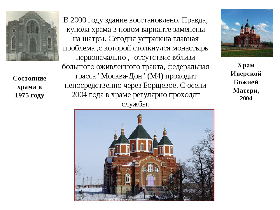 Состояние храма в 1975 году Храм Иверской Божией Матери, 2004 В 2000 году зда...