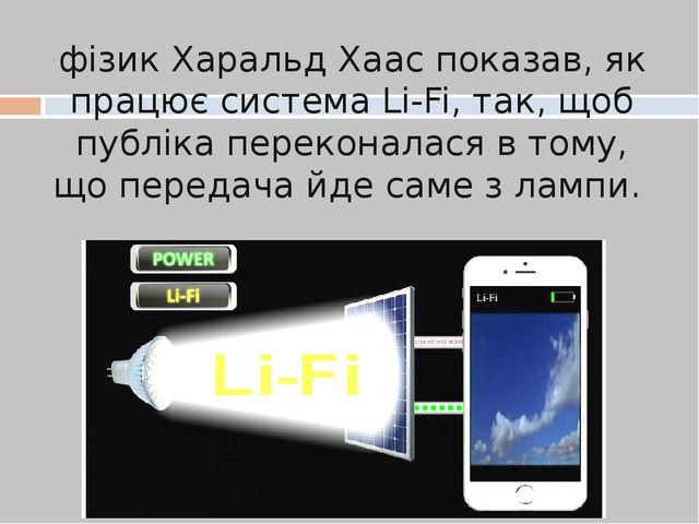 фізик Харальд Хаас показав, як працює система Li-Fi, так, щоб публіка перекон...
