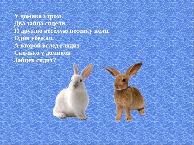 У домика утром Два зайца сидели. И дружно весёлую песенку пели. Один убежал,...