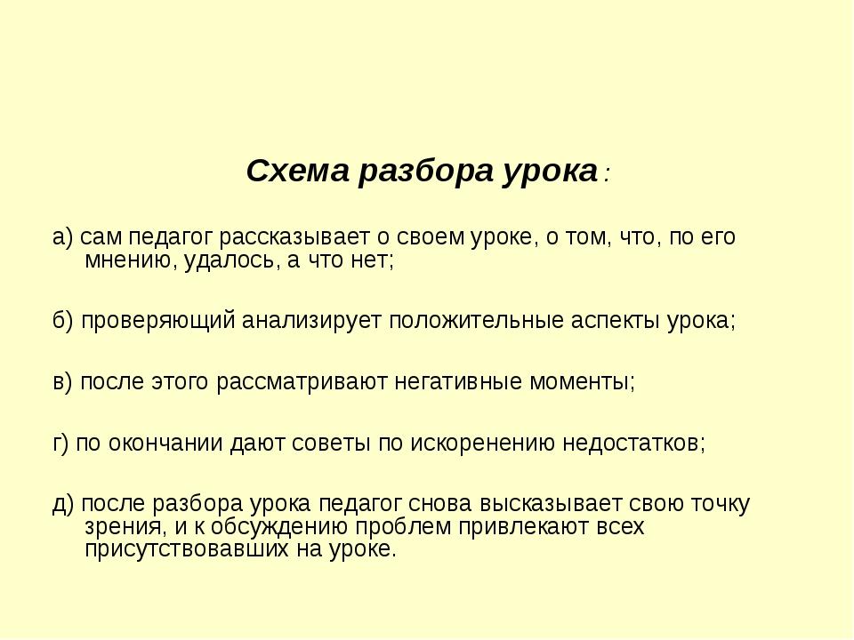 Схема разбора урока : а) сам педагог рассказывает о своем уроке, о том, что,...