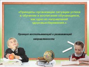 Принцип воспитывающей и развивающей направленности. «Принципы организации си
