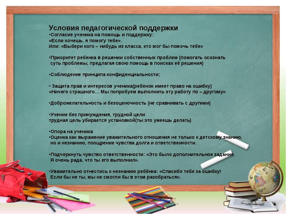 Условия педагогической поддержки Согласие ученика на помощь и поддержку: «Ес...
