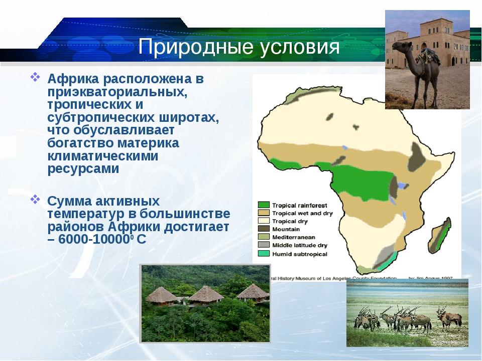 Природные условия Африка расположена в приэкваториальных, тропических и субтр...