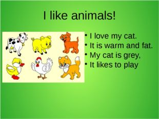 I like animals! I love my cat. It is warm and fat. My cat is grey, It likes t