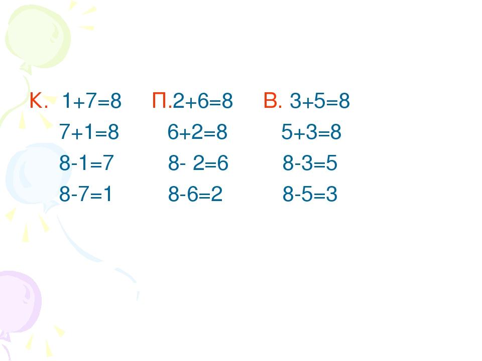 К. 1+7=8 П.2+6=8 В. 3+5=8 7+1=8 6+2=8 5+3=8 8-1=7 8- 2=6 8-3=5 8-7=1 8-6=2 8-...