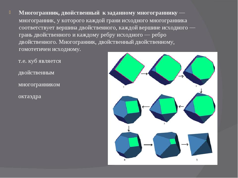 Многогранник, двойственный к заданномумногограннику—многогранник, у которо...