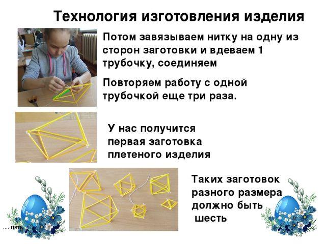 Технология изготовления изделия .... пять. Потом завязываем нитку на одну из...