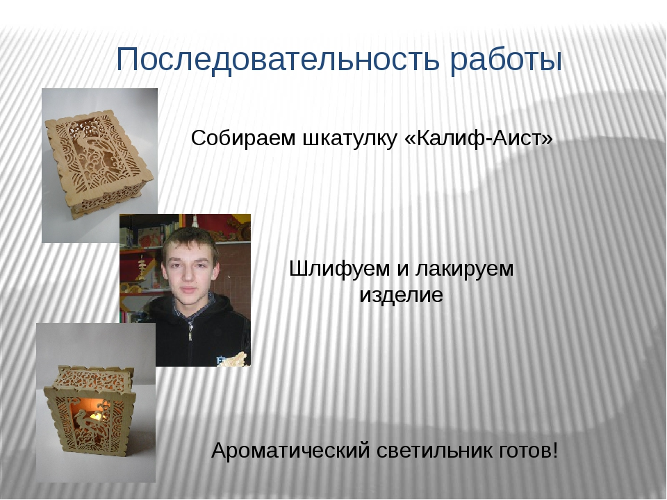 Последовательность работы Собираем шкатулку «Калиф-Аист» Шлифуем и лакируем и...
