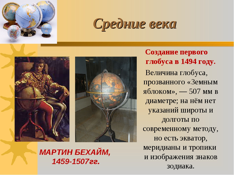 Средние века Создание первого глобуса в 1494 году. Величина глобуса, прозванн...