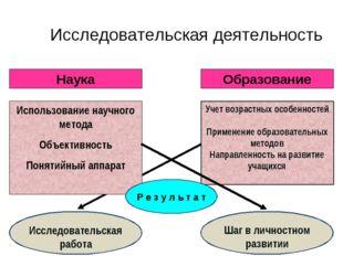 Исследовательская деятельность Наука Образование Использование научного метод